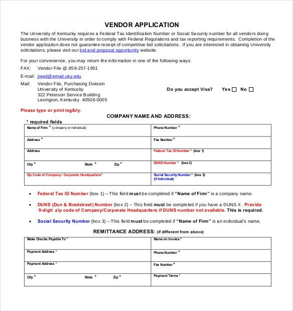 10+ Vendor Application Templates – Free Sample, Example, Format ...
