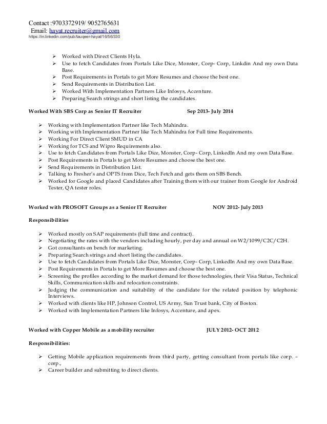 it recruiter resume technical recruiter resume example recruiter