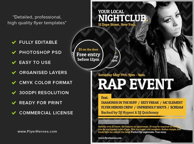 Typographic Club Flyer Template - FlyerHeroes