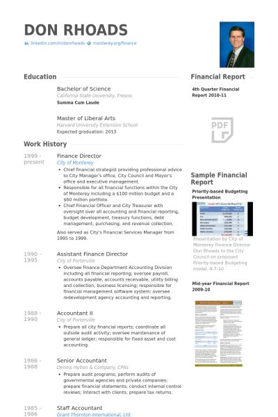 Finance Director Resume samples - VisualCV resume samples database