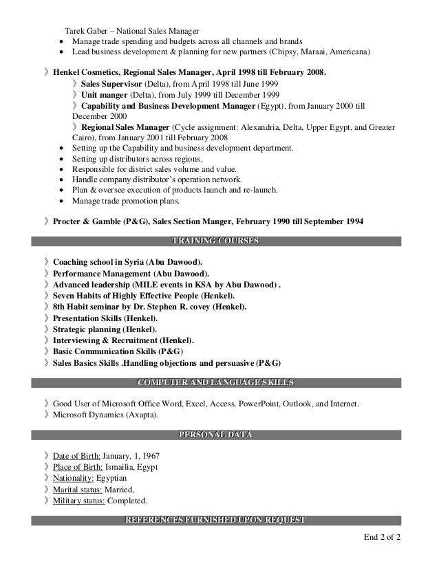 Tarek Gaber -National Sales Manager (Resume)