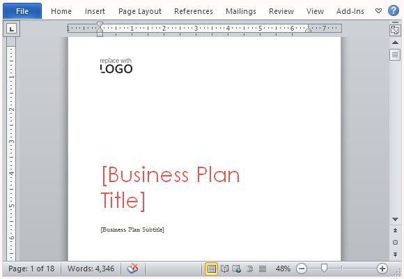 Business Plan Template for Microsoft Word