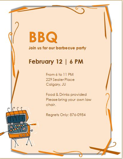 Barbecue Party Invitation Template MS Word | Word & Excel Templates