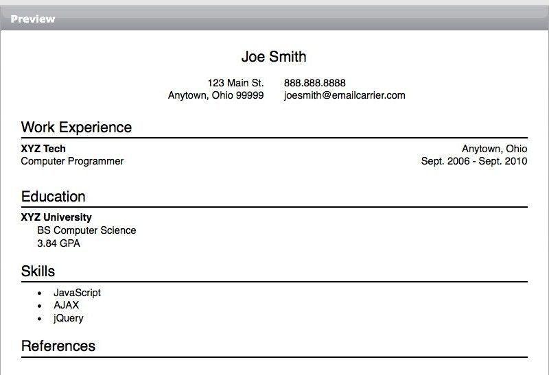 quick simple resume template sample american resume template test - American Resume Samples