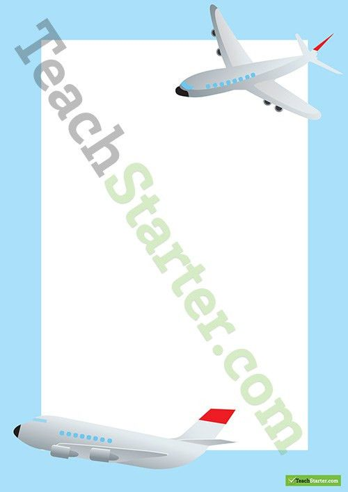 Airplane Transport Page Border - Word Template Teaching Resource ...