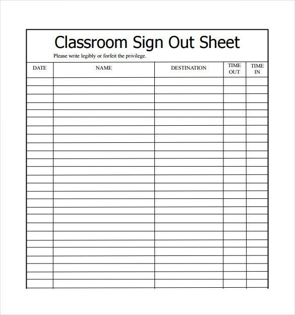 16+ Sign Out Sheet Templates - Free Sample, Example, Format ...