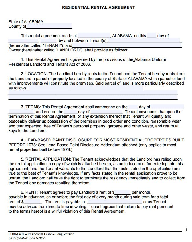 Free Alabama Month to Month Rental Agreement Form | PDF Template ...