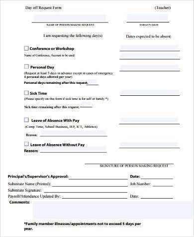Sample Day Off Request Forms - 9+ Free Documents in Word, PDF