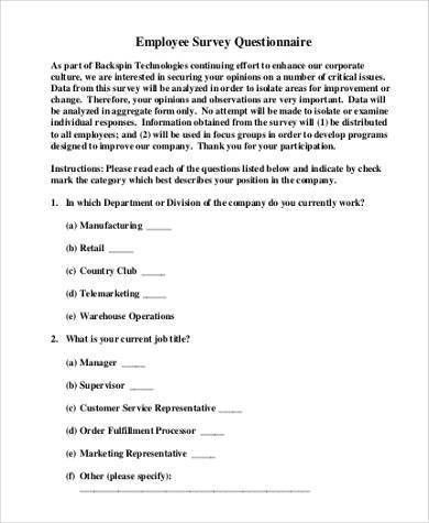 Sample Employee Survey Forms - 8+ Free Documents in Word, PDF