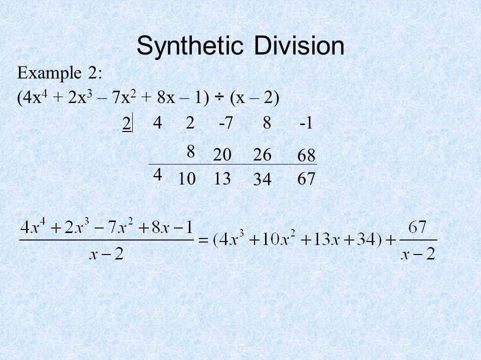 Today in Pre-Calculus Go over homework Notes: –Synthetic Division ...