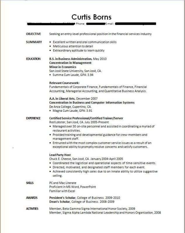 Sample Resume For Finance Student With No Experience ...