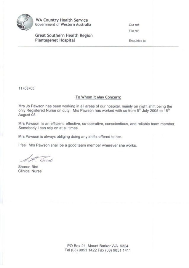 Reference letter from Plantagenet Hospital 2005