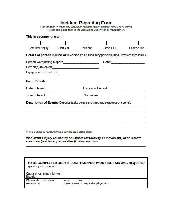 Word Report Template   8+ Free Word Document Downloads | Free .  Injury Incident Report Form Template