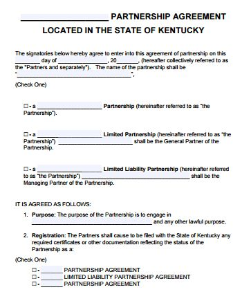 Free Kentucky Partnership Agreement Template | PDF | Word |