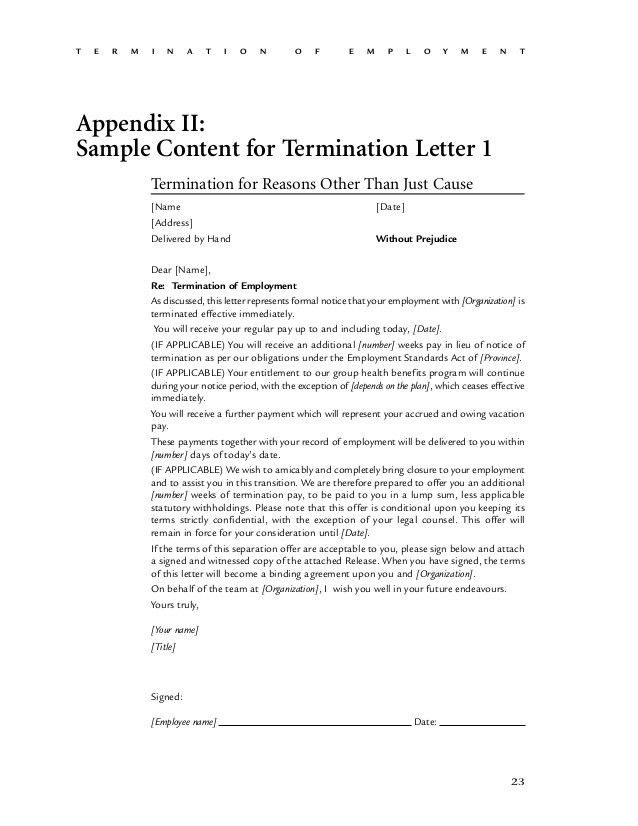 sample employee termination letter for cause sample employee ...
