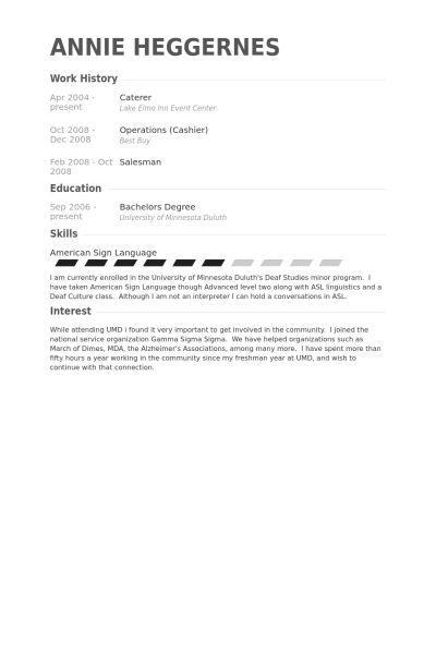 Caterer Resume samples - VisualCV resume samples database