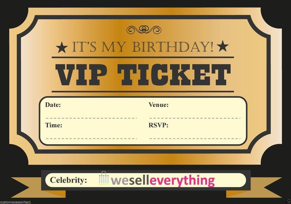 20 VIP TICKET INVITE BIRTHDAY PARTY INVITATIONS KIDS BOYS GIRLS ...