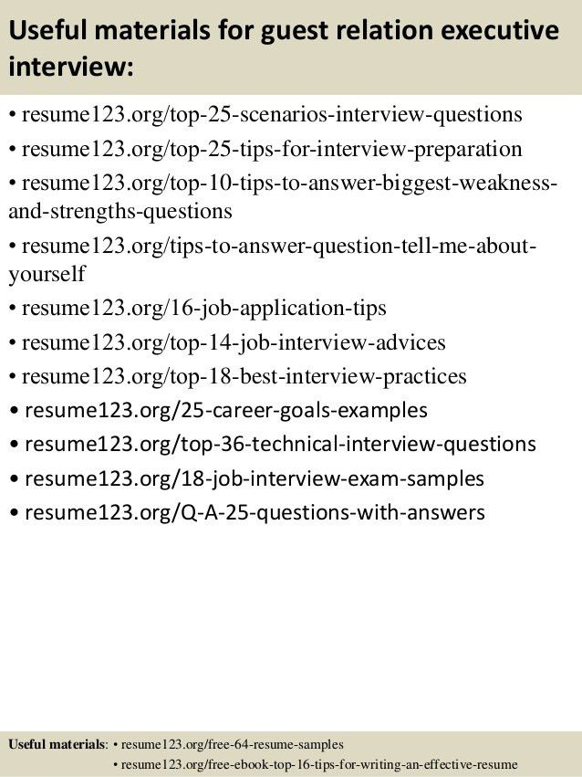 Top 8 guest relation executive resume samples