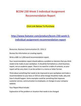 Bcom 230 week 5 individual assignment recommendation report by ...