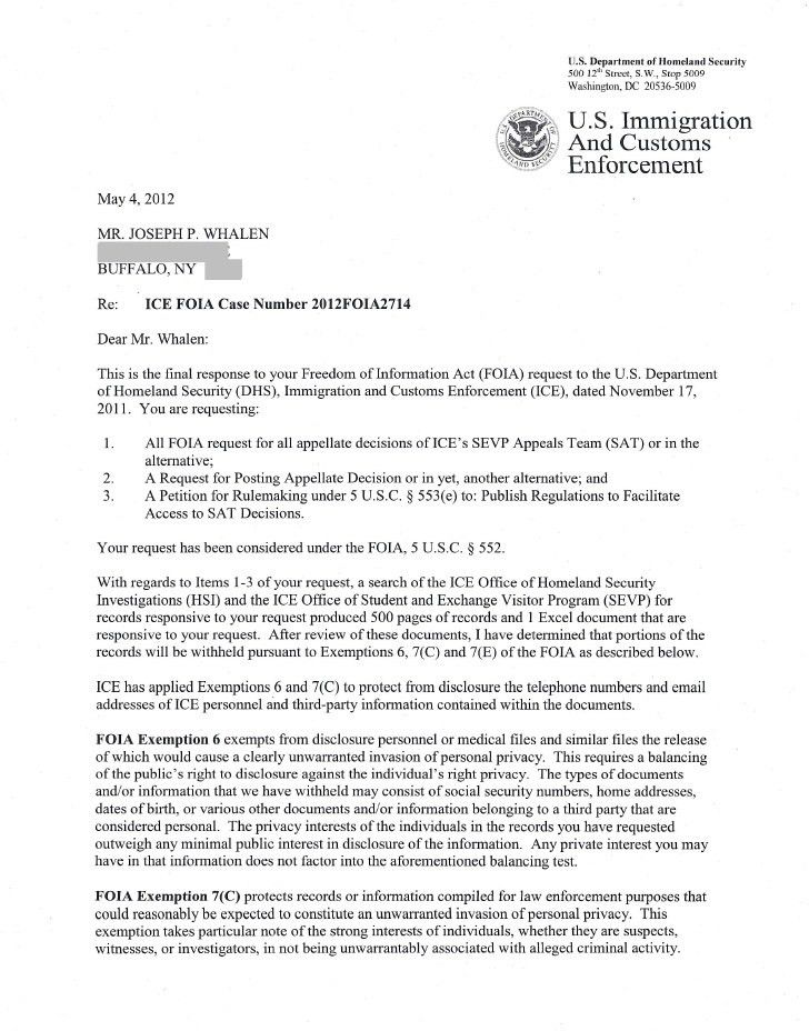 ICE FOIA Release Cover Letter Redacted