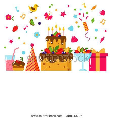 Happy Birthday Template Card Flat Vector Stock Vector 380113726 ...