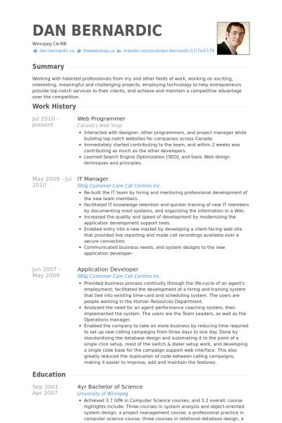 Web Programmer Resume samples - VisualCV resume samples database