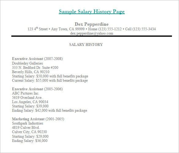 9+ Sample Salary History Templates – Free Word, PDF Documents ...