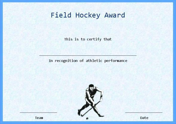 25 Printable Hockey Certificate Templates For Kids, Youth ...
