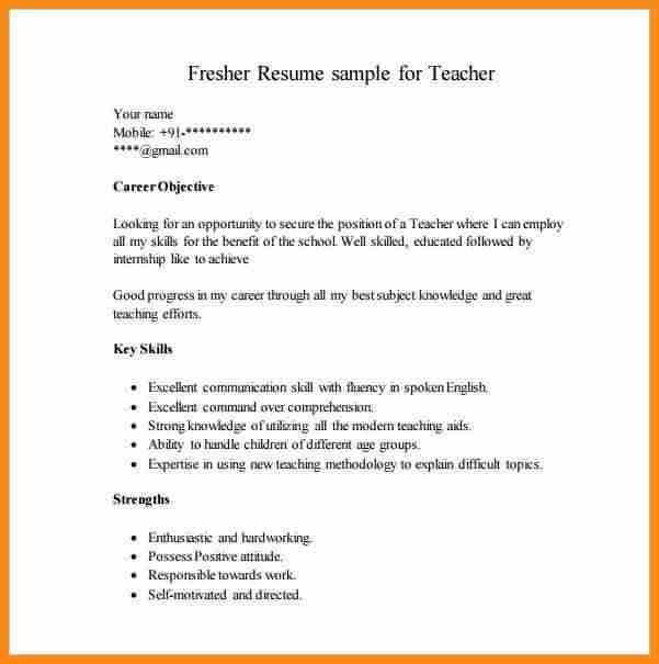 5+ resume format for fresher teachers | musicre sumed