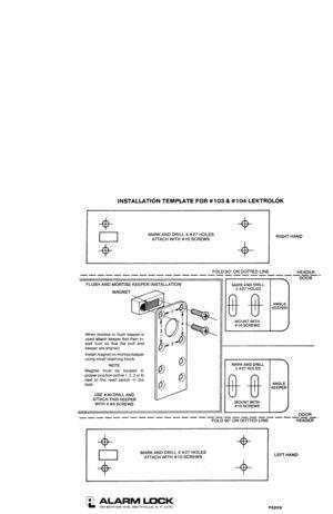 Alarm Lock Door Alarms Lektrolok Models 103 104 Template User Manual