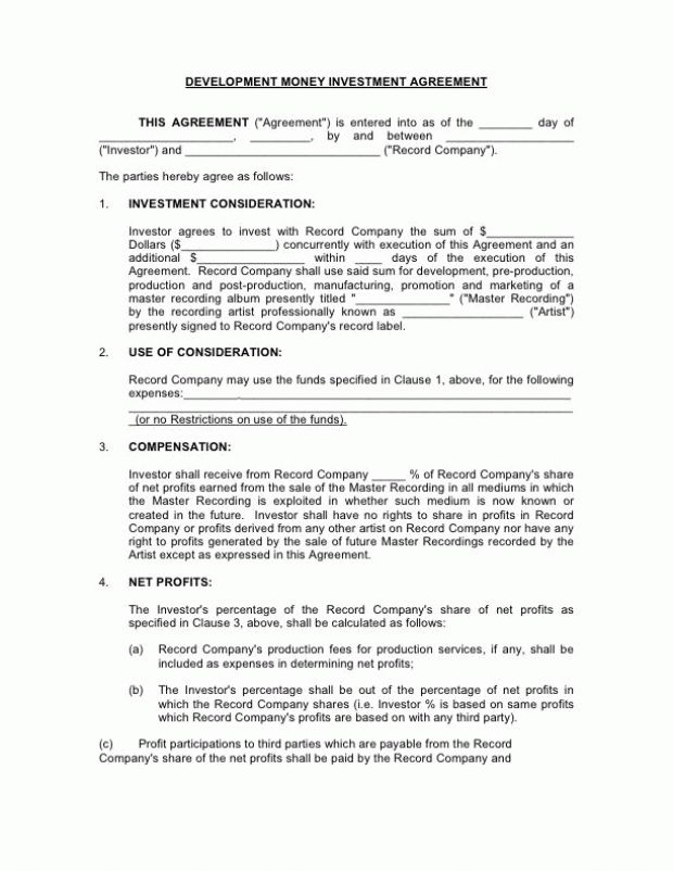 Investment Contract Templates - Find Word Templates
