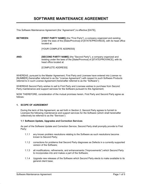 Software Maintenance Agreement 2 - Template & Sample Form ...