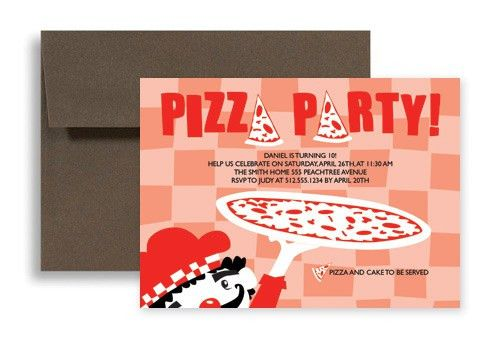 Kids Pizza Party Microsoft Word Birthday Invitation 7x5 in ...