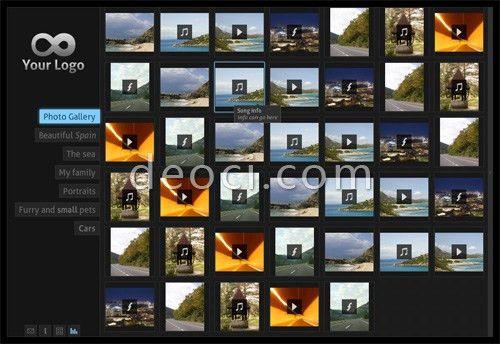 Flash photo album of pictures, audio, video showcase website ...