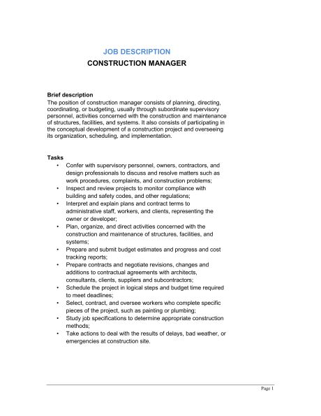 Construction Manager Job Description - Template & Sample Form ...