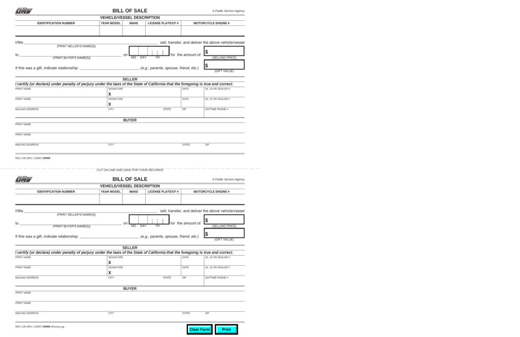 California Motor Vehicle/Boat Bill of Sale | Form REG-135 | eForms ...