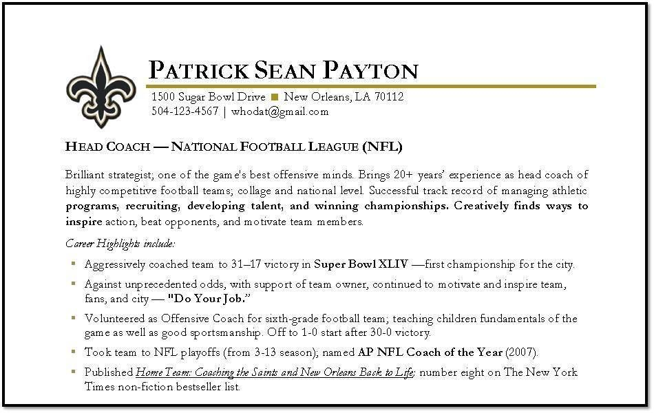 Sean Payton | Imprint Resumes