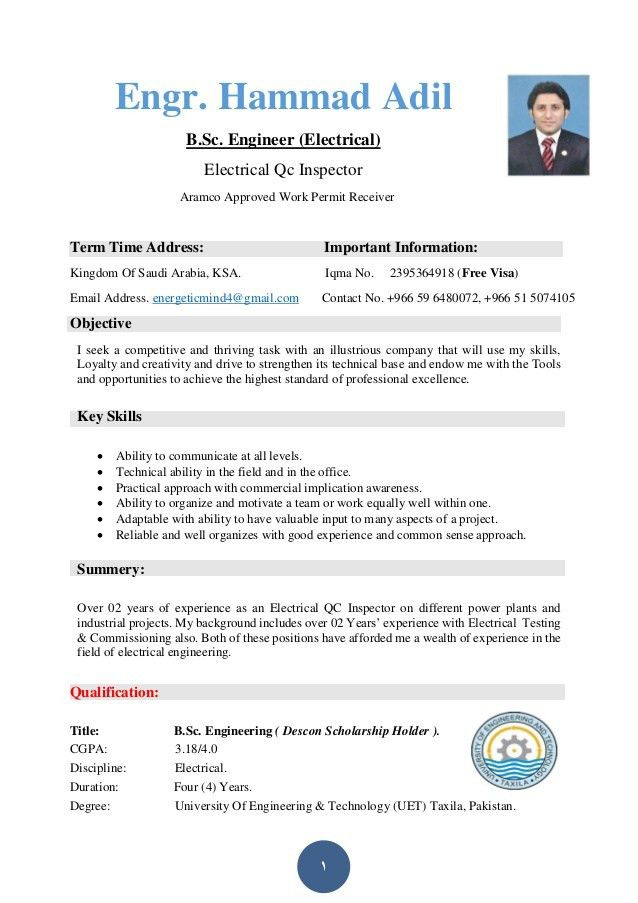 Hammad Adil Hashmi Resume ( Electrical Engineer)