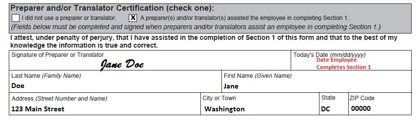 Completing Section 1, Employee Information and Attestation   USCIS