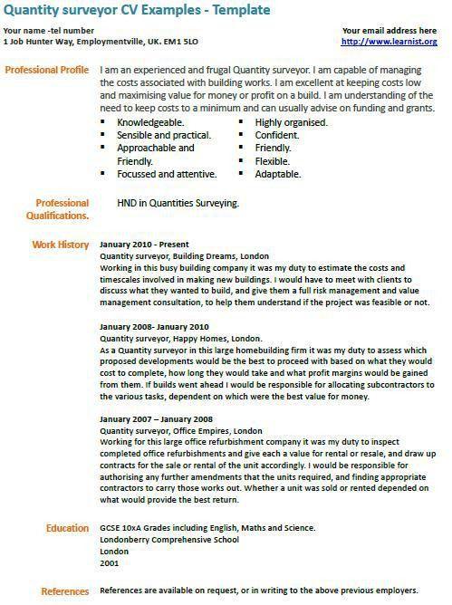 Quantity surveyor cv example | Learnist.Org, | Pinterest | Cv examples