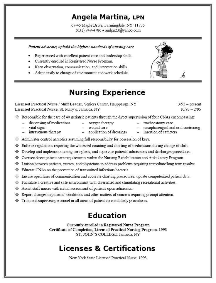 sample resume licensed practical nurse licensed practical nurse