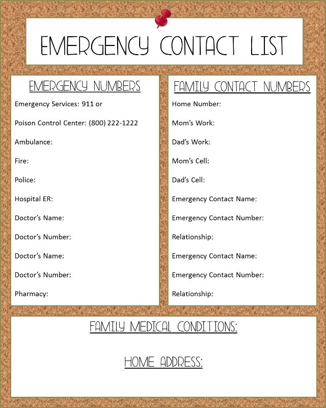 Emergency Contact List Template. Family Emergency Contact List ...