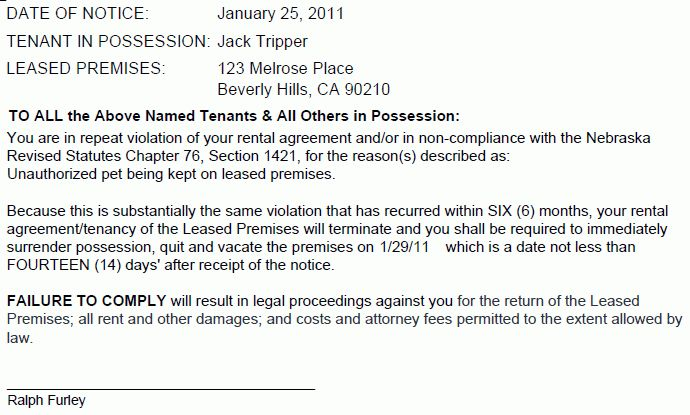 Nebraska 14 Day Notice of Termination | EZ Landlord Forms