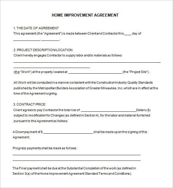 Home Remodeling Contract Template -7+ Free Word, PDF Documents ...
