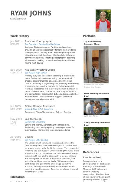 Assistant Photographer Resume samples - VisualCV resume samples ...