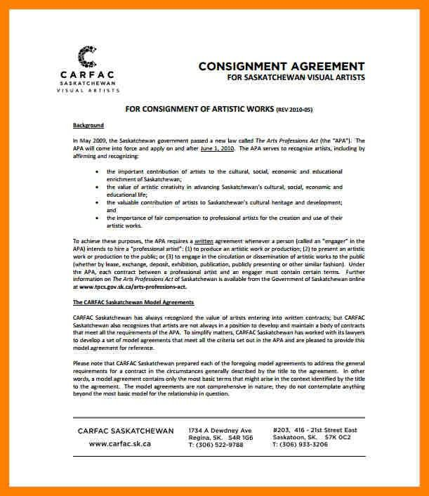8+ consignment agreement template | ats resuming