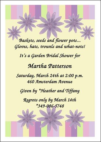Garden Themed Bridal Shower Invitation Wording - cloveranddot.Com