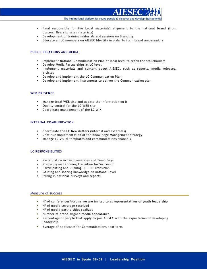 Job Description VP Comm