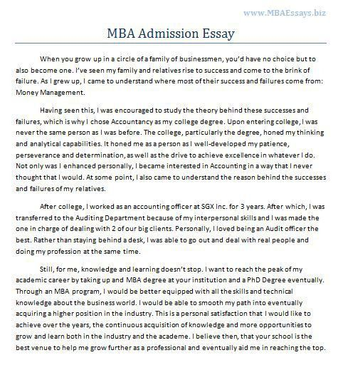 mba application essay samples