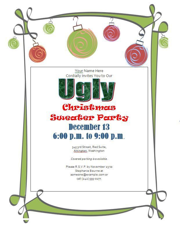 Ugly Christmas Sweater Party Invitations - FREE Downloads - Custom ...